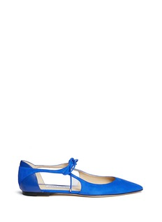Jimmy Choo 'Vanessa' cutout suede and leather flats