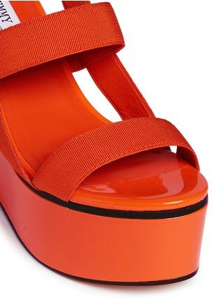 Detail View - Click To Enlarge - Jimmy Choo - 'Nazli 100' grosgrain slingback wedge sandals