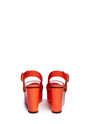 Back View - Click To Enlarge - Jimmy Choo - 'Nazli 100' grosgrain slingback wedge sandals