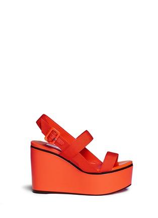 Main View - Click To Enlarge - Jimmy Choo - 'Nazli 100' grosgrain slingback wedge sandals