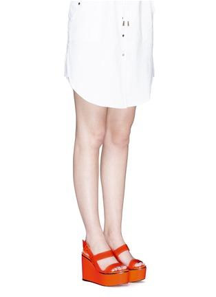 Figure View - Click To Enlarge - Jimmy Choo - 'Nazli 100' grosgrain slingback wedge sandals