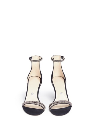 Front View - Click To Enlarge - Pedder Red - Crystal suede strappy sandals