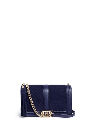 Main View - Click To Enlarge - Rebecca Minkoff - 'Love' quilted suede flap leather crossbody bag