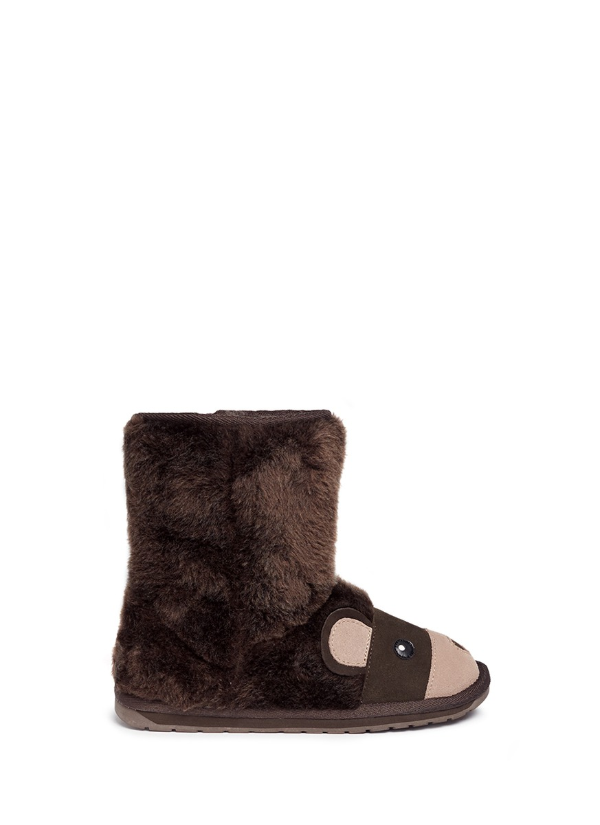 Brown Bear Merino wool kids boots by EMU AUSTRALIA