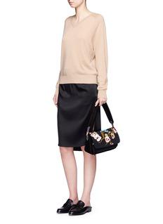 Elizabeth and James'Willa' bird floral embroidered suede shoulder bag