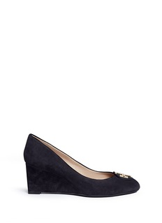 Tory Burch 'Luna' metal logo suede wedge pumps