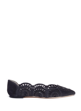 Main View - Click To Enlarge - Tory Burch - 'Leyla' floral lasercut suede flats