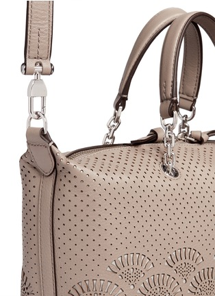 Detail View - Click To Enlarge - Tory Burch - 'Zoey' small floral cutout perforated leather satchel
