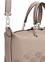 'Zoey' small floral cutout perforated leather satchel