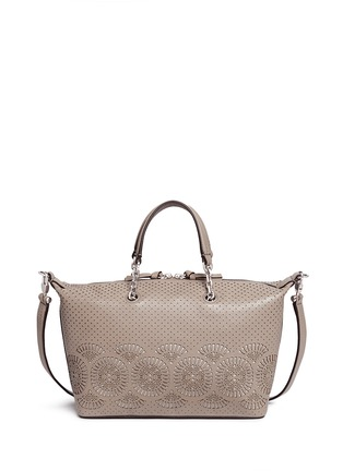 Back View - Click To Enlarge - Tory Burch - 'Zoey' small floral cutout perforated leather satchel