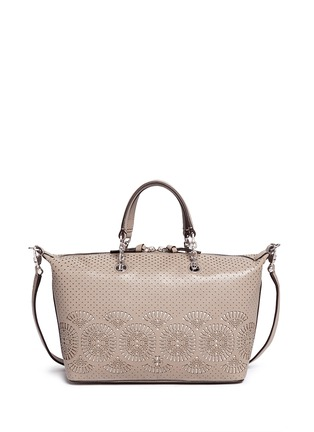 Tory Burch - 'Zoey' small floral cutout perforated leather satchel