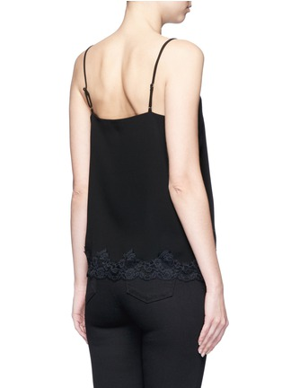 Back View - Click To Enlarge - Theory - 'Sakshee' scalloped lace hem crepe camisole