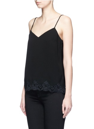 Front View - Click To Enlarge - Theory - 'Sakshee' scalloped lace hem crepe camisole