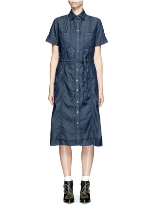Main View - Click To Enlarge - Current/Elliott - 'The Jackie' frayed hem belted denim dress