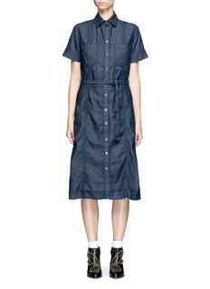 Current/Elliott'The Jackie' frayed hem belted denim dress