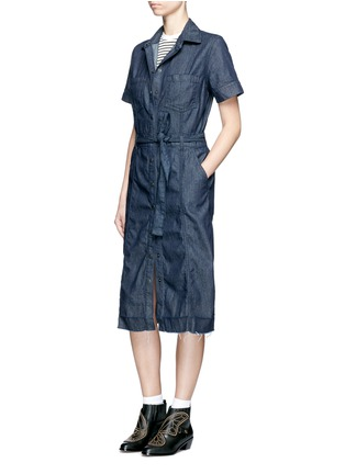 Figure View - Click To Enlarge - Current/Elliott - 'The Jackie' frayed hem belted denim dress