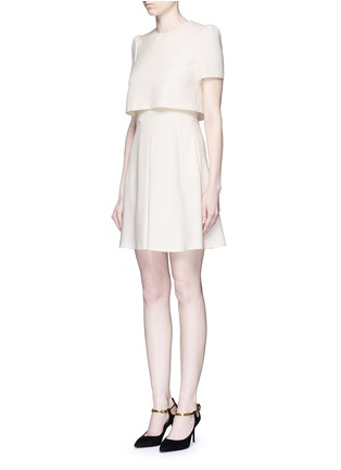 Front View - Click To Enlarge - Alexander McQueen - Pleat overlay crepe cape dress