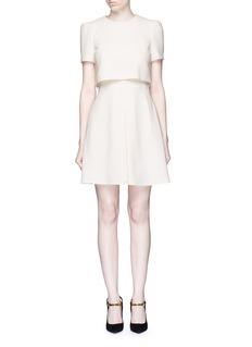 Alexander McQueenPleat overlay crepe cape dress