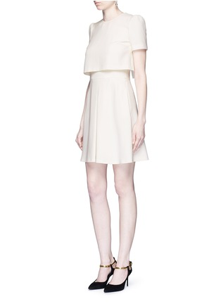 Figure View - Click To Enlarge - Alexander McQueen - Pleat overlay crepe cape dress