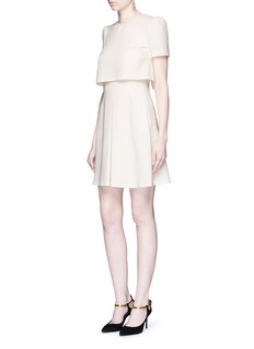 Alexander McQueen Pleat overlay crepe cape dress