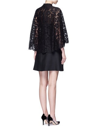 Back View - Click To Enlarge - Valentino - Lace cape sleeve Crepe Couture dress