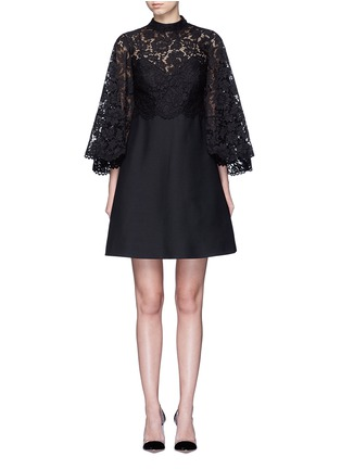 Main View - Click To Enlarge - Valentino - Lace cape sleeve Crepe Couture dress