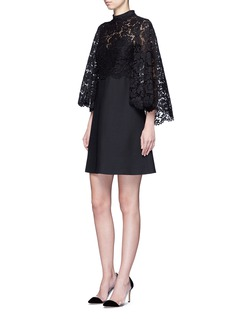 VALENTINO Lace cape sleeve Crepe Couture dress