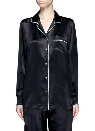 Main View - Click To Enlarge - Dolce & Gabbana - Contrast piping silk satin pyjama shirt