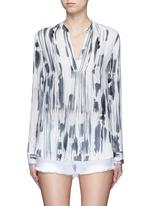 'Cascade' ink print silk georgette shirt