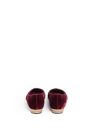 Back View - Click To Enlarge - René Caovilla - 'Ballerina' strass pavé velvet skimmer flats