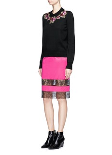 GivenchyFloral embroidery wool knit sweater