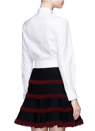 Back View - Click To Enlarge - Alaïa - Pocket cropped poplin shirt