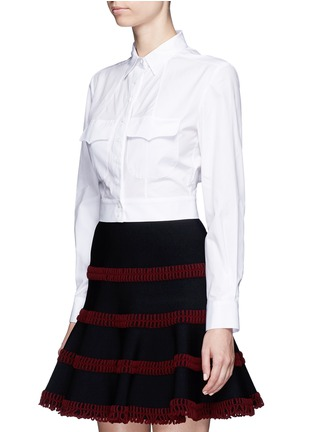 Front View - Click To Enlarge - Alaïa - Pocket cropped poplin shirt