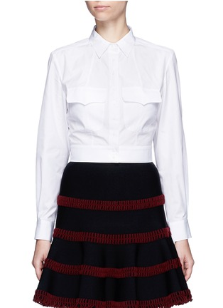 Main View - Click To Enlarge - Alaïa - Pocket cropped poplin shirt