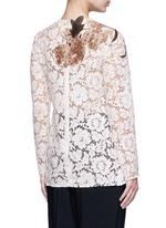 Floral print patch lace top