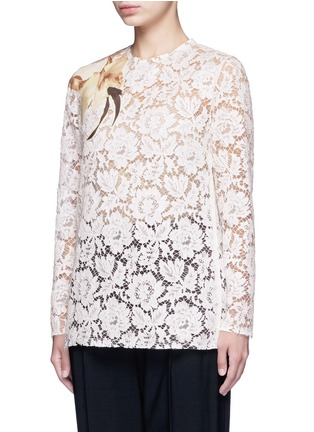 Valentino - Floral print patch lace top