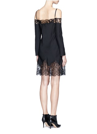Back View - Click To Enlarge - Givenchy - Floral lace trim off-shoulder silk dress