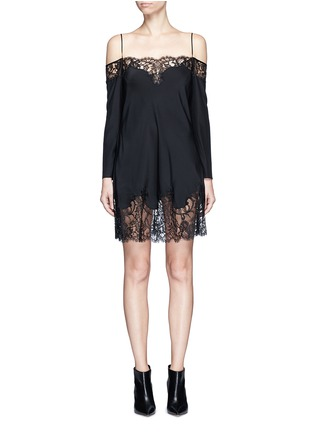 Main View - Click To Enlarge - Givenchy - Floral lace trim off-shoulder silk dress