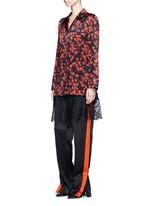 Floral lace trim off-shoulder silk dress