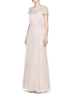 NEEDLE & THREADInset lace crinkled chiffon gown