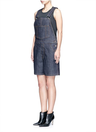 Front View - Click To Enlarge - Givenchy - Denim dungaree rompers
