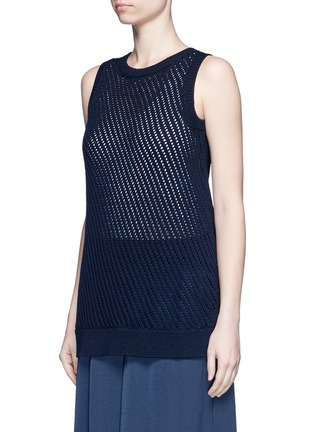 Front View - Click To Enlarge - Vince - Mesh stitch cotton tank