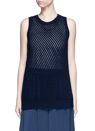 Main View - Click To Enlarge - Vince - Mesh stitch cotton tank