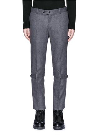 Main View - Click To Enlarge - Alexander McQueen - Harness wool flannel cropped pants