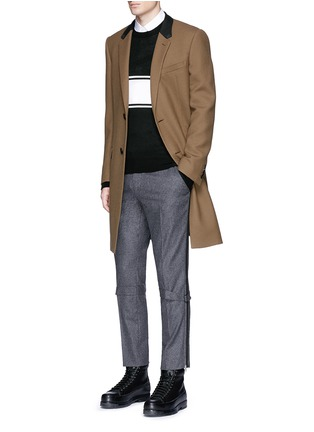 Figure View - Click To Enlarge - Alexander McQueen - Harness wool flannel cropped pants