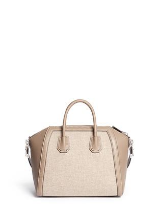 Back View - Click To Enlarge - Givenchy - 'Antigona' medium virgin wool panel leather bag