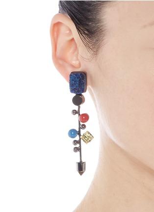 Figure View - Click To Enlarge - MOUNSER - Geometric crystal gemstone stud earrings