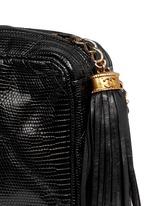 Small lizard leather crossbody camera bag