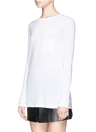 Front View - Click To Enlarge - T By Alexander Wang - Long sleeve pocket T-shirt