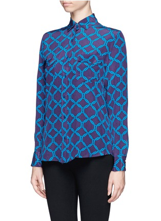 Front View - Click To Enlarge - STELLA JEAN - 'Delfina' chain print silk shirt